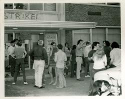 Student strike the ROTC outside Dickinson Hall, ca. 1970