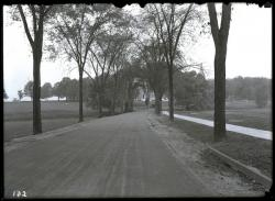 Olmstead Road looking north toward Memorial Hall and Old Chapel, ca. 1920, Photo: Special Collections and University Archives, University of Massachusetts Amherst Libraries