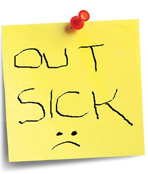 """Photo of an """"Out Sick"""" post-it note"""