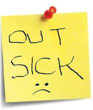 "Photo of an ""Out Sick"" post-it note"
