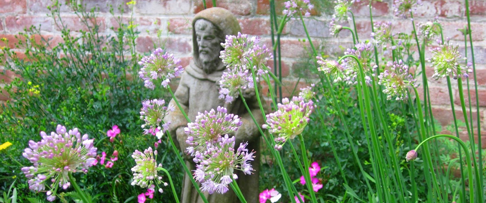 A statue of St. Francis sits in front of the center with spring blooms surrounding.