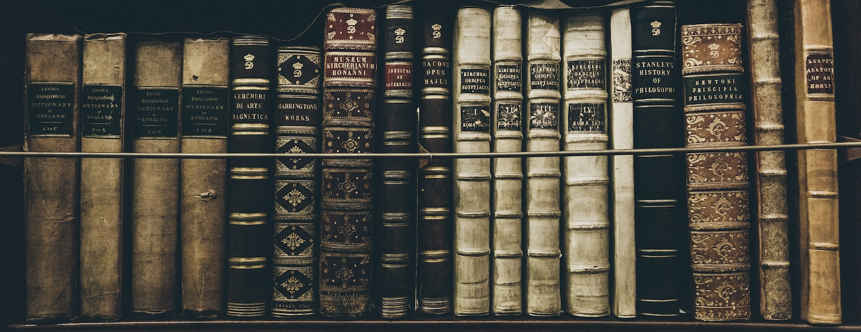 Line of books on a shelf