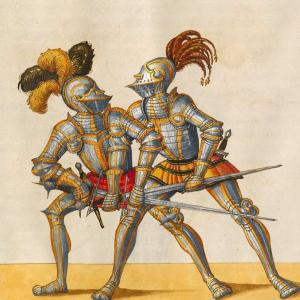 Two people in armor fighting with swords