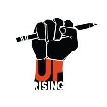 Image of a fist and words saying Uprising