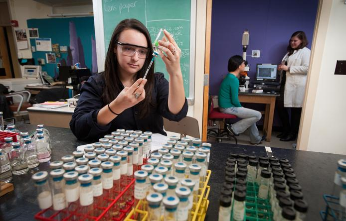 UMass Environmental Microbiology majors work in labs and out in the field.