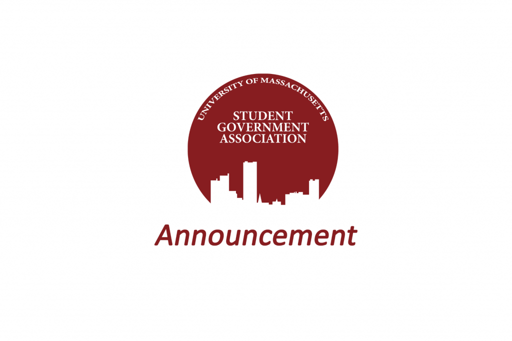 "SGA Logo with text ""Announcement"""