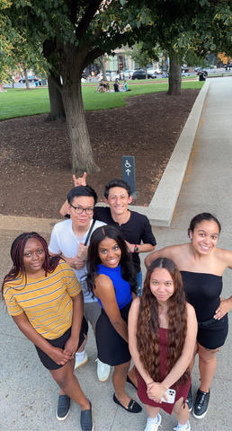 Six University of Massachusetts students stand in Mount Vernon Square as part of the SBS in DC program in Washington, DC