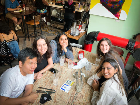 University of Massachusetts student Farah Sabir sits in a restaurant in Washington, DC with four other UMass students