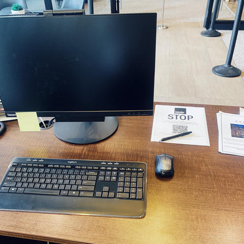 A computer is visible on a desk at University of Massachusetts student Jessie's internship