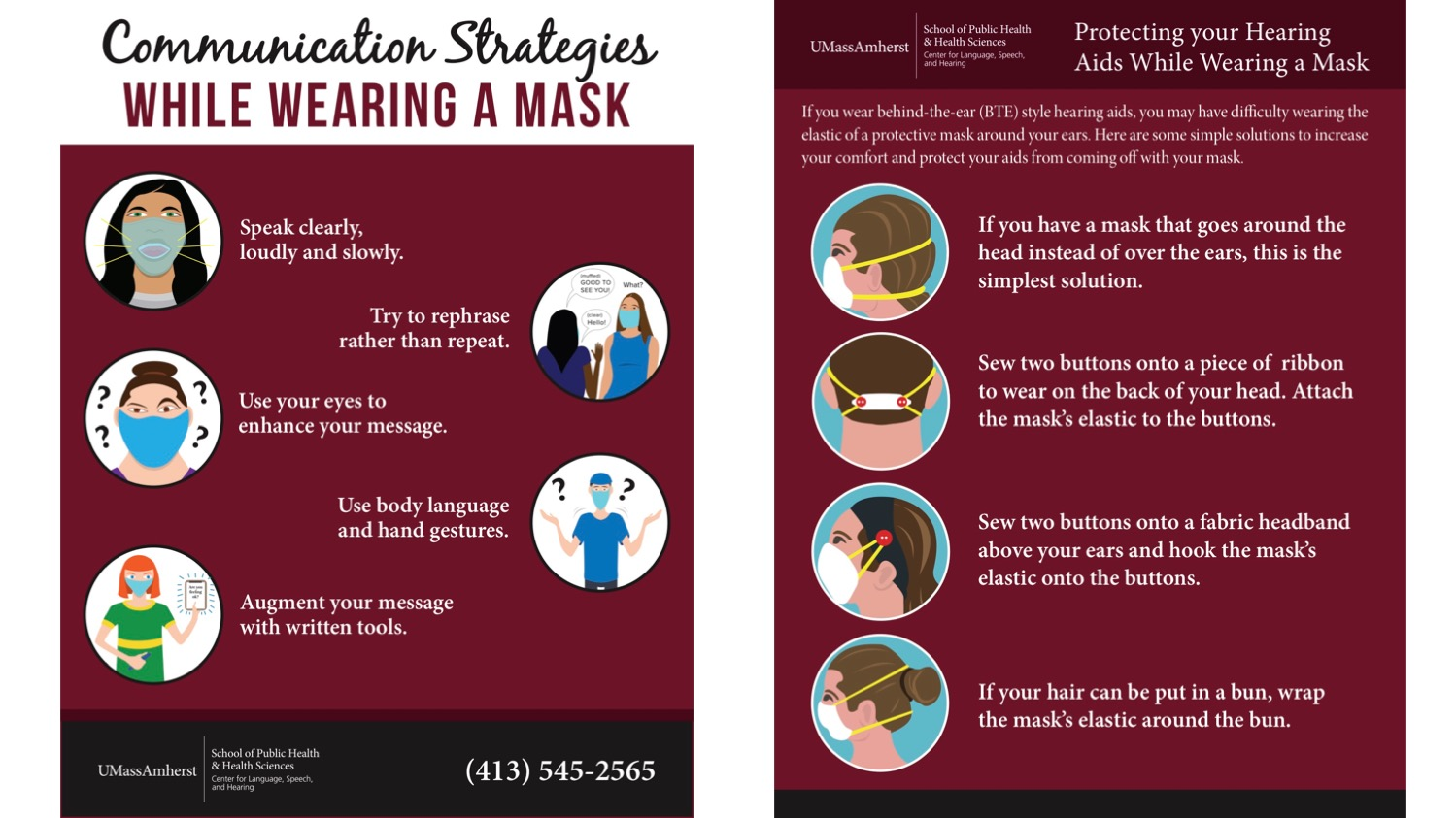 infographics recommend speaking clearly and using body language while wearing a mask, also depict ways to wear a mask so as to not interfere with behind-the-ear hearing aids