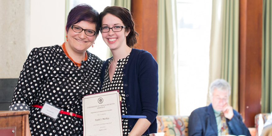 Dr. Gwyneth Rost and scholarship recipient