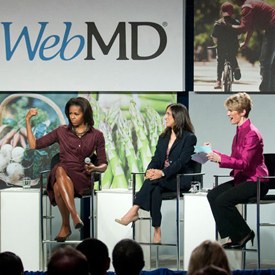 WebMD Director of Nutrition Kathleen Zelman, First Lady Michelle Obama, Dr. Hansa Bhargava of WebMD, and Elizabeth Ward