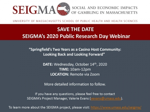 SEIGMA Public Research Day Webinar 2020 Save the Date Flyer