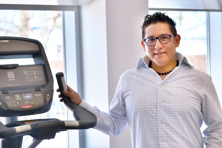 University of Massachusetts Kinesiology doctoral candidate Albert Mendoza at the Life Sciences Laboratory