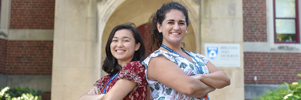 SPHHS interns Alyssa Devlin and Ashley Rice outside Brigham and Women's Hospital