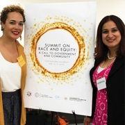 University of Massachusetts Community Health Education alums Meenakshi Verma-Agrawal MPH '02 (at right) with Nashira Baril '01