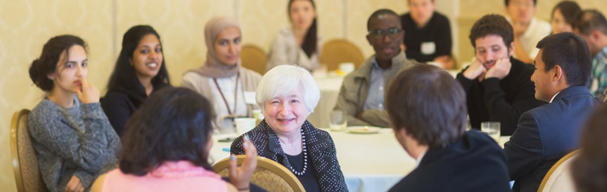 University of Massachusetts students meeting with former Chair of the Federal Reserve Board Janet Yellen