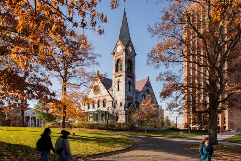 UMass Old Chapel in fall