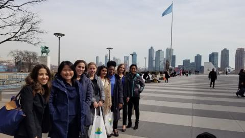 Group of students outside the United Nations