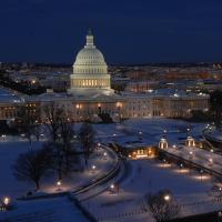 US Capitol Building at night, in snow