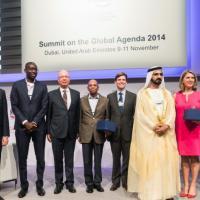 Jane Fountain on stage at World Economic Forum summit