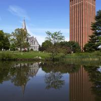 UMass Amherst library and Old Chapel
