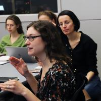 Professor Marta Vicarelli and students in her Environmental Policy class