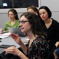 Professor Marta Vicarelli and students in classroom