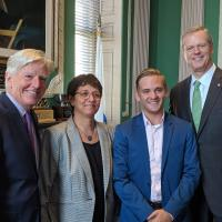 UMass President Marty Meehan, state Rep Mindy Domb, Jake Binnall and Gov. Charlie Baker as Binnall joins the Board of Trustees