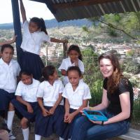 Olivia Laramie and girls she worked with in Honduras