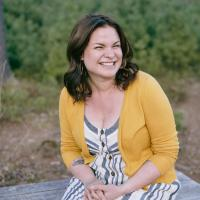 Rachel Mann, sitting outside