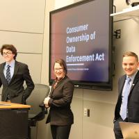 Sam Rusling-Flynn, Madeline Leue and Jacob Binnall making a presentation in class