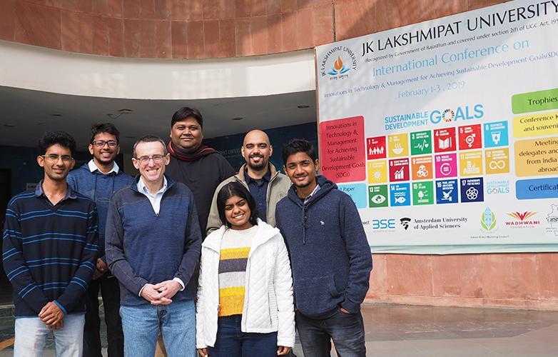 Professor Al Roberts and students at JKLU