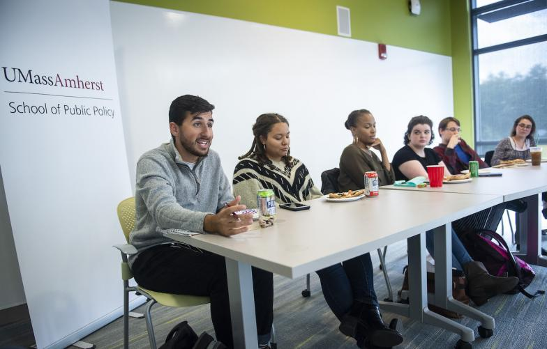 Students speaking at a panel on internships