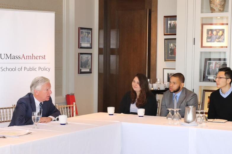 photo of UMass President Marty Meehan with School of Public Policy Students