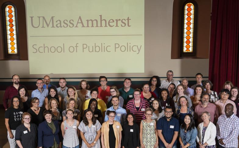 Group photo of SPP students, faculty and staff at 2019 orientation