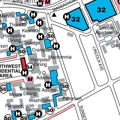 Campus map showing Stonewall Center location