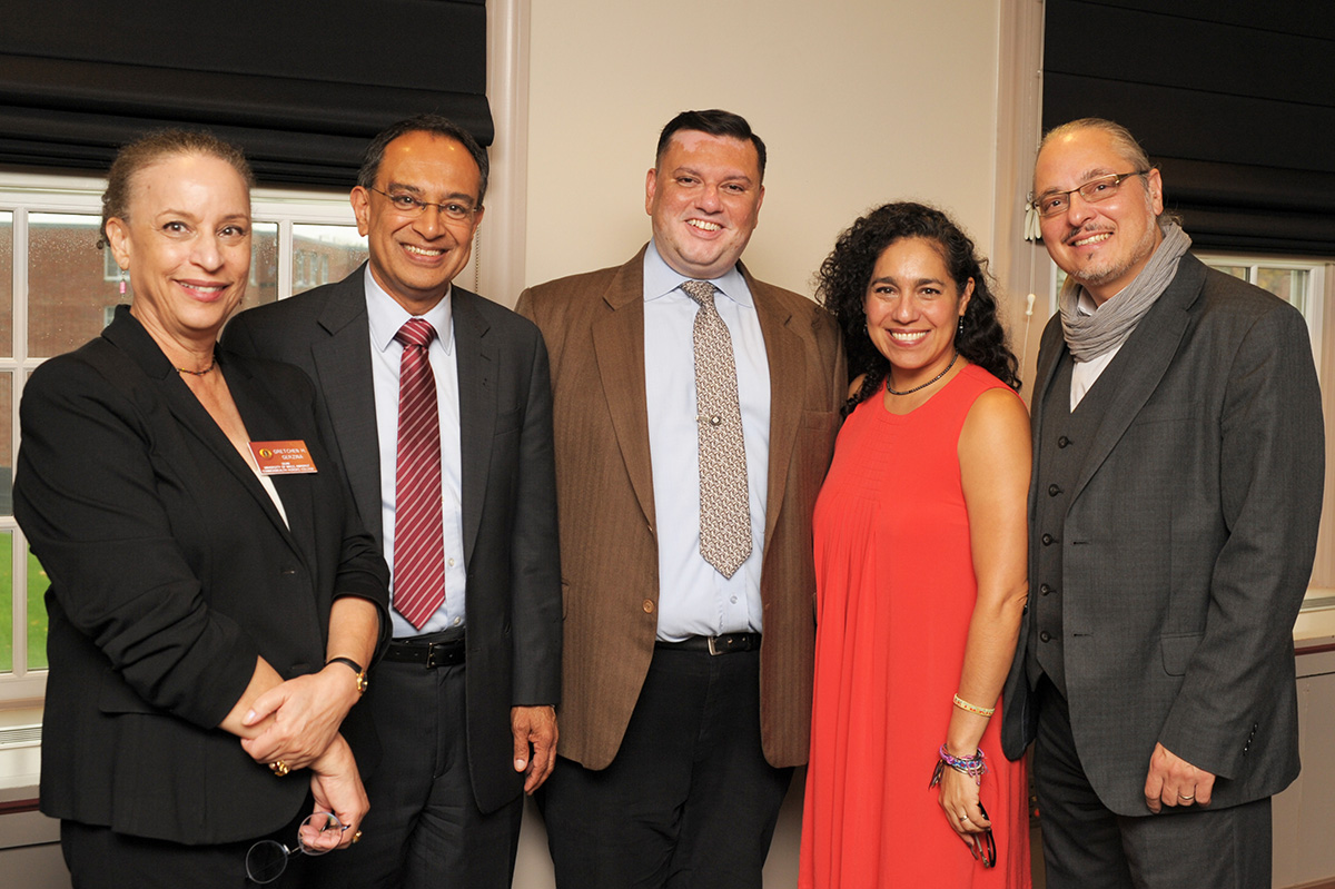 Mari Castañeda is pictured with UMAss Amherst Chancellor Subbaswamy and others.