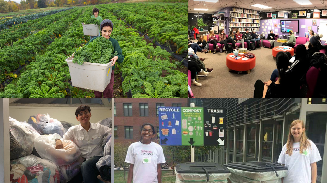 A collage of four photos: a student smiling sitting on top of a huge pile of clothing donations, student volunteers standing in front of recycling compost and trash bins, students harvesting green kale in a field, and students giving a sustainability presentation in the Stonewall Center at UMass