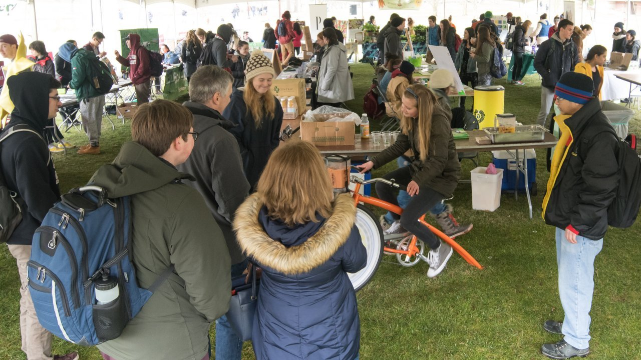 Sustainable student organizations tabling at the 2018 Earth Day Festival