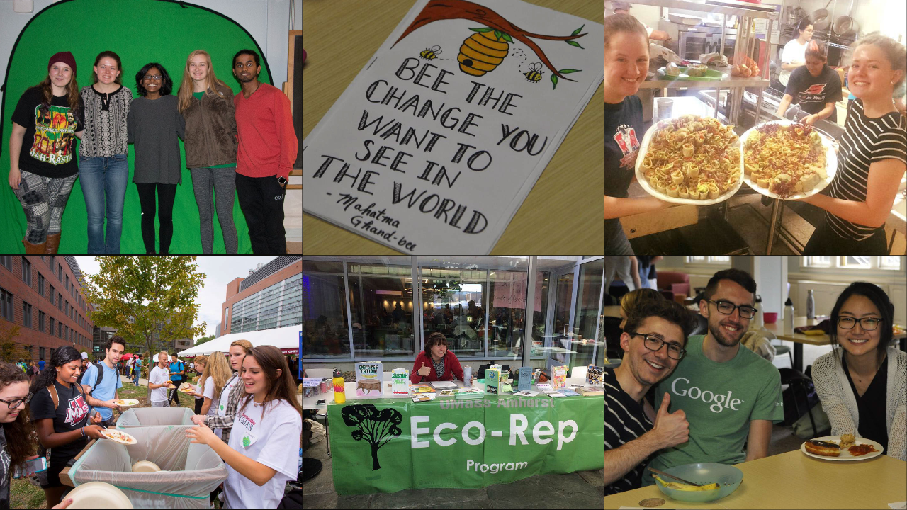 A collage of photos, students volunteering in front of compost bins, tabling, and eating food and smiling at the end of the year potluck