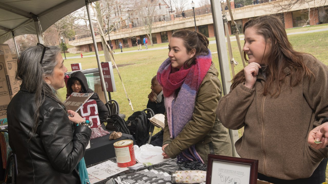 Campus Sustainability Fellows tabling at the 2018 Earth Day Festival - Photo Credit: UMass Dining/Keith Toffling