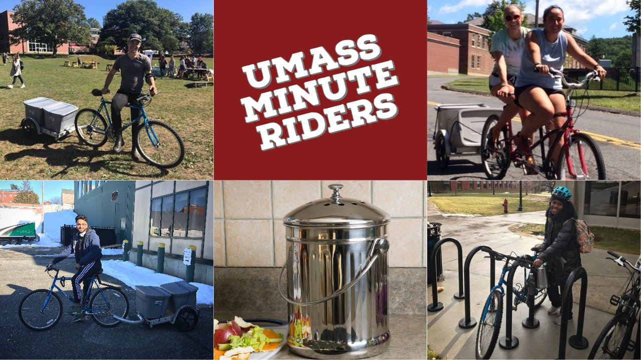 The UMass Minute Riders are students who collect compost on bicycles. A trailer with wheels is attached to the back of the bicycle, and they collect food waste from metal countertop bins in office kitchens on campus.