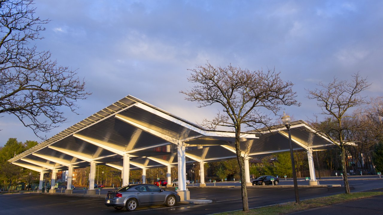 Robsham Solar Canopies & Robsham Visitor Center Solar Canopies | Sustainability | UMass Amherst