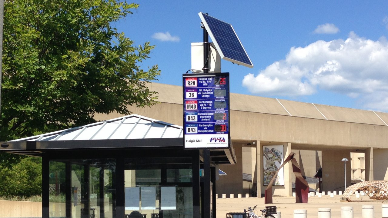 Solar Powered Bus Stop Departures Signs Sustainability