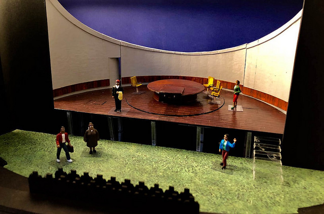 student small model of stage set for design of Midsummer Night's Dream