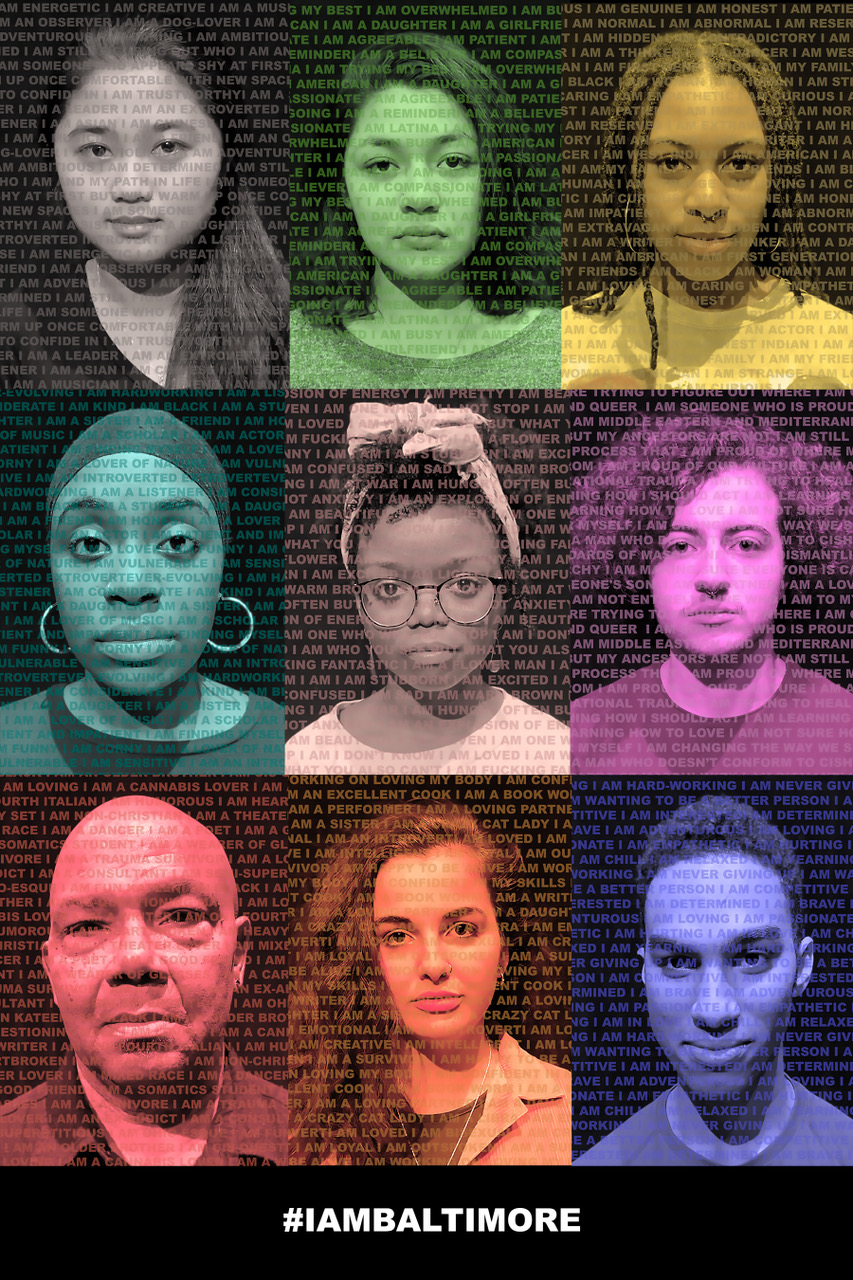 A poster featuring the faces of actors in Baltimore, with superimposed text of characteristics that define said characters.