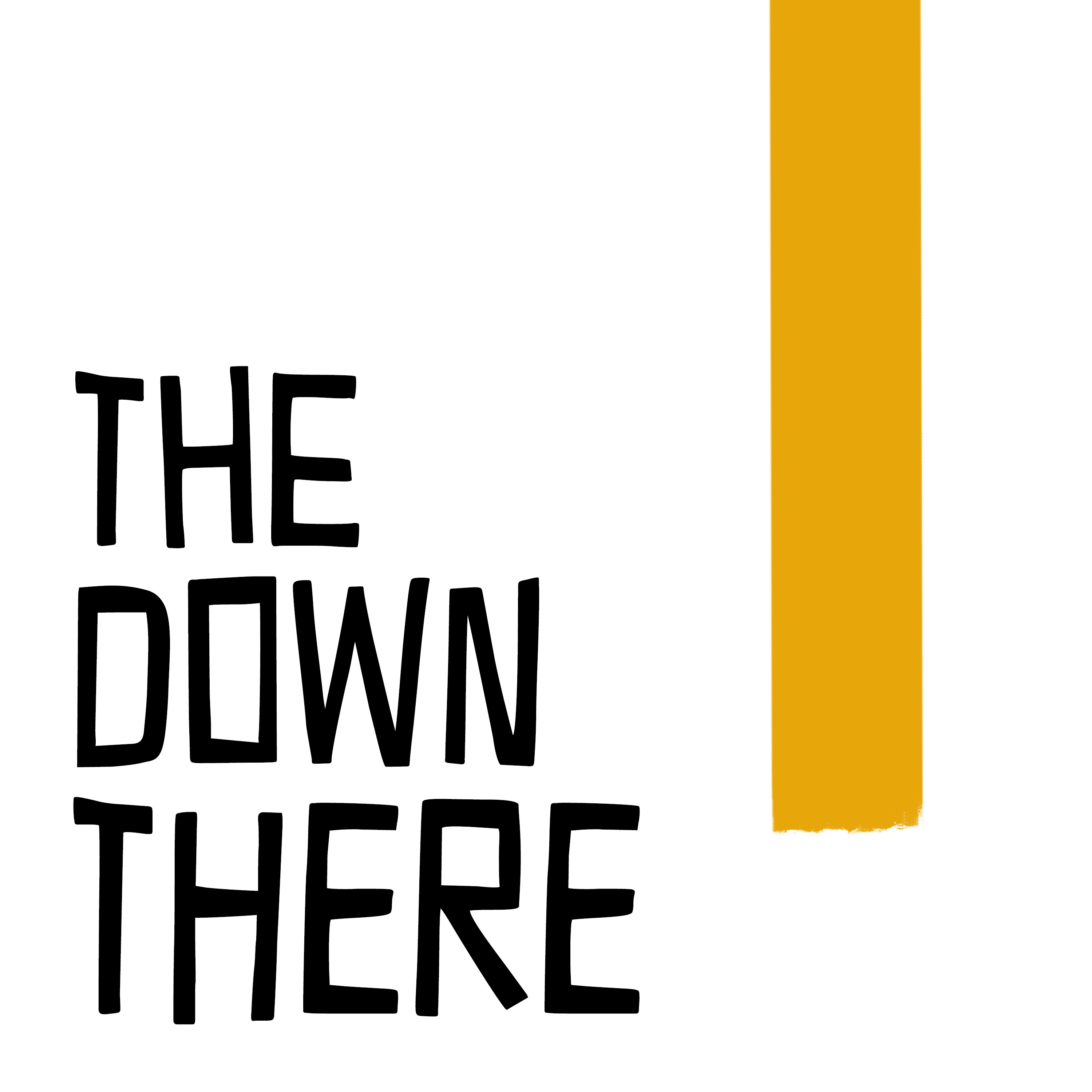 A logo showing the words The Down There in a black font, with a yellow line running down the right side of the image