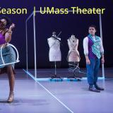 2019-2020 season banner for UMass Theater. A woman in a steampunk-style outfit gestures humorously as a man looks over his shoulder at her doubtfuloly