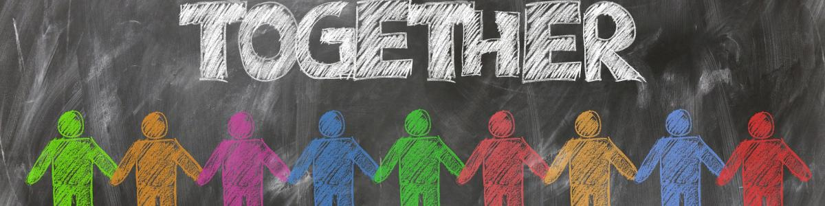 "Graphic image of chalkboard with the word ""together"" and shapes of people"